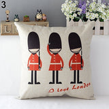 "London Throw Pillow Cover | 17"" x 17"" Square Pillow Covers 