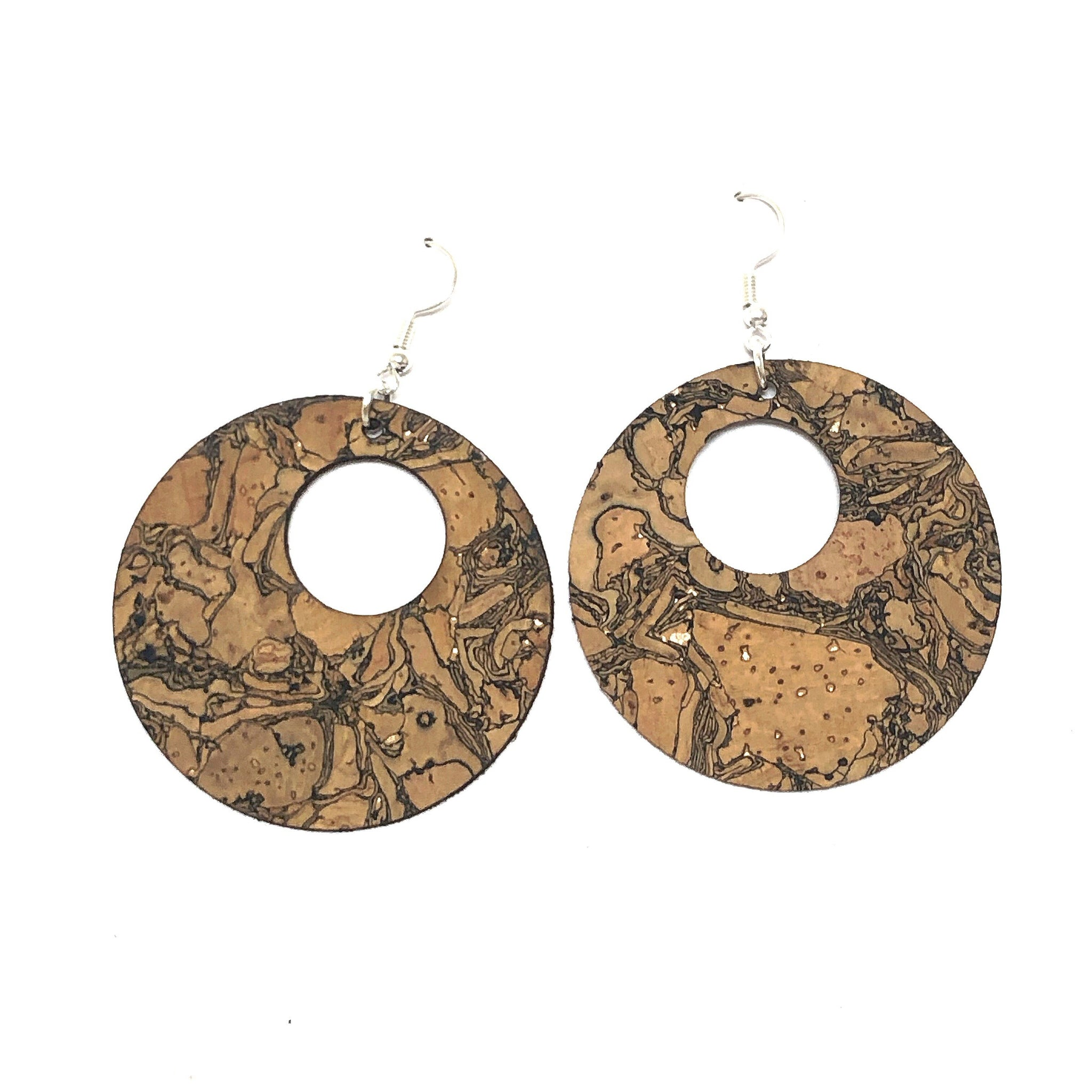 Cork Double Circle Earrings - Both Sides Cork