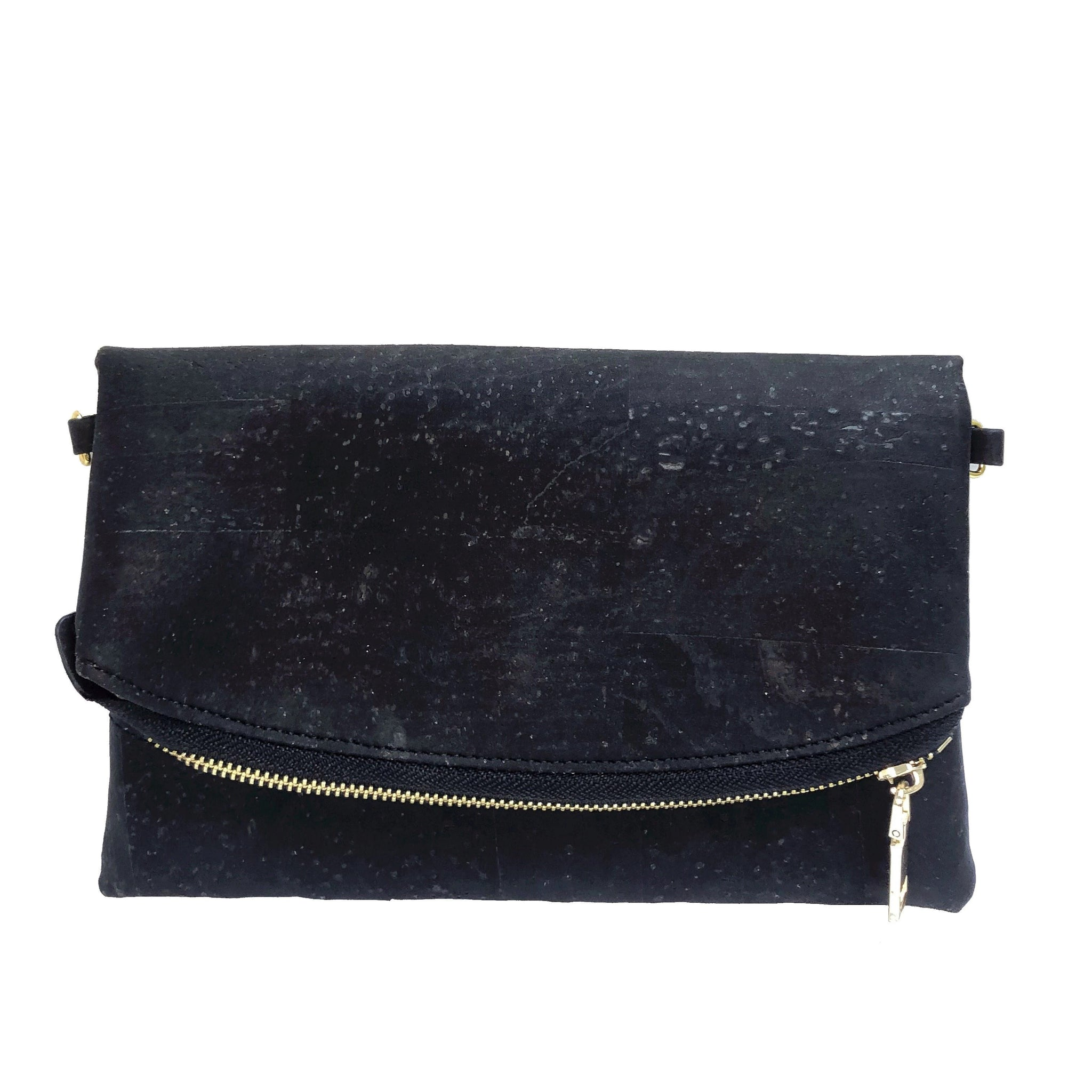 Queork mini cork flapper handbag black