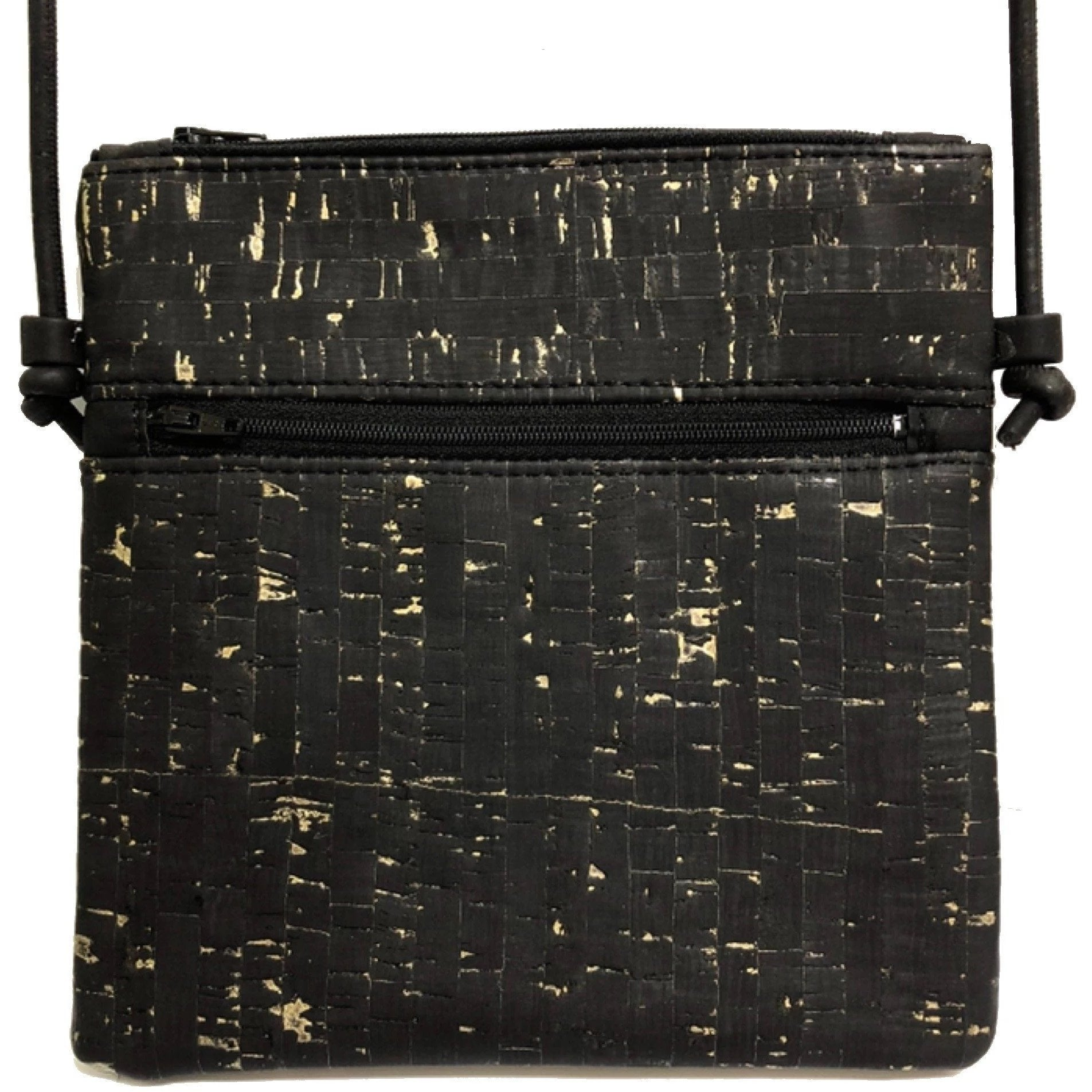 queork cork double zipper black gold