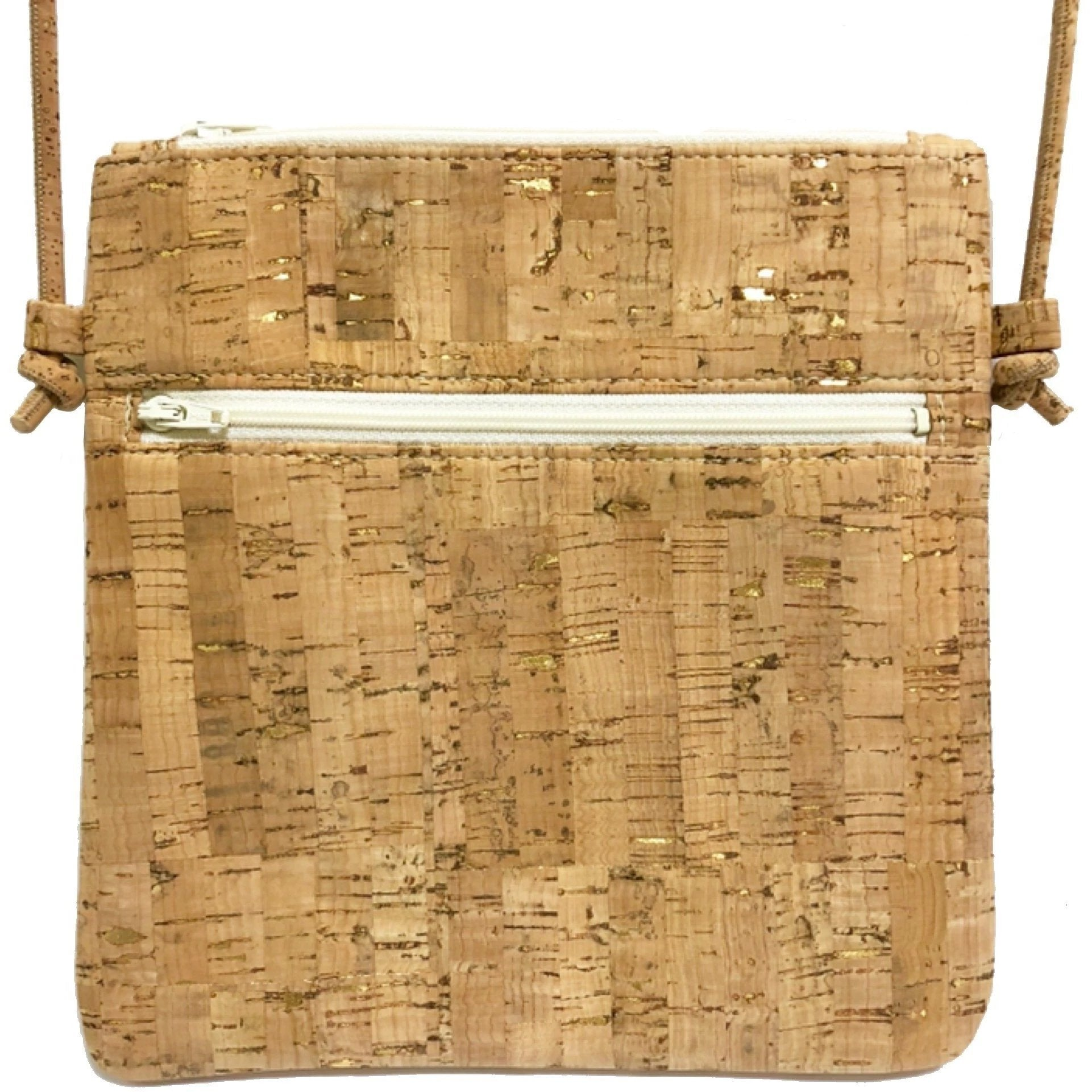 queork cork double zipper bamboo gold