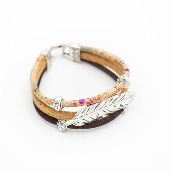 Cork Bracelet with Feather