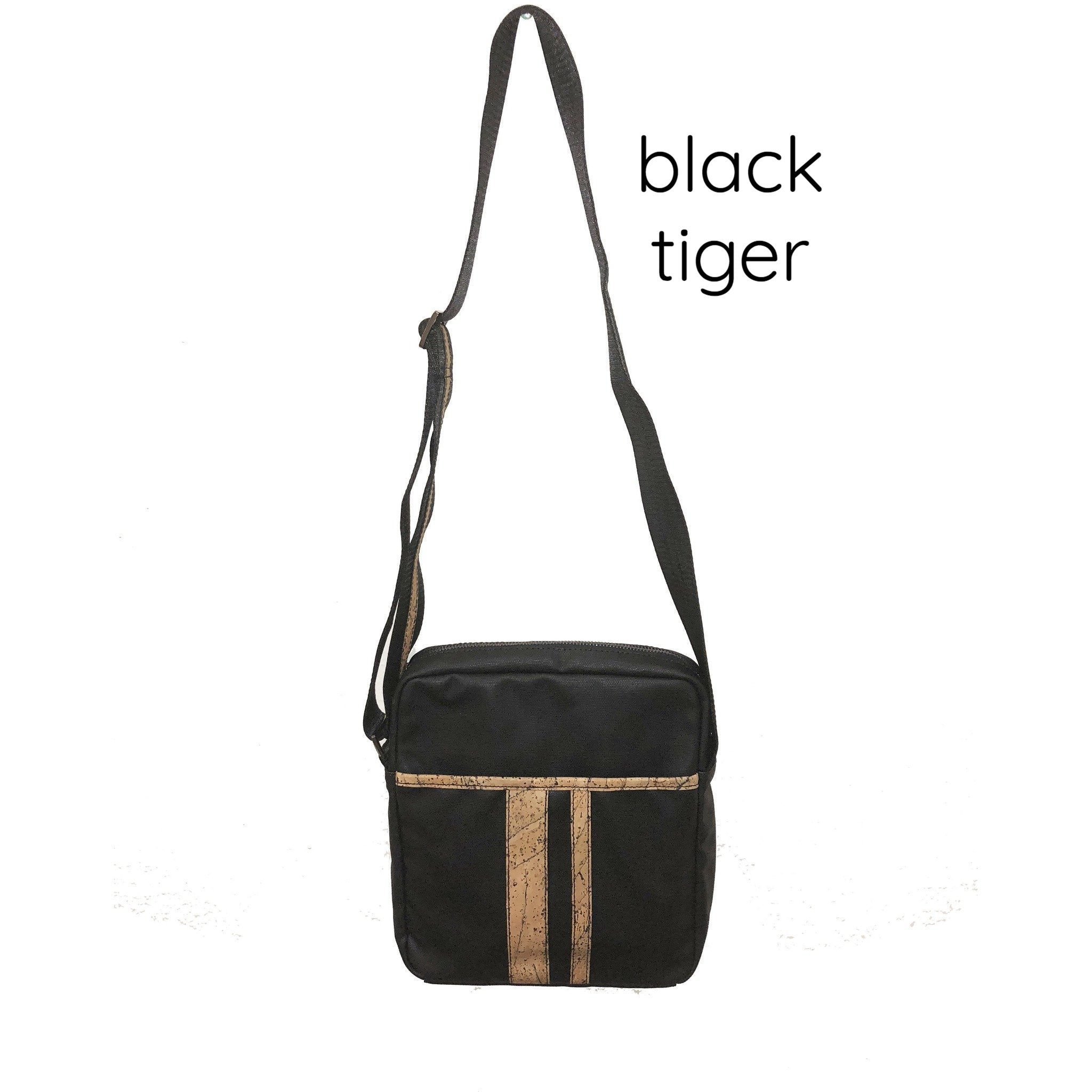 Queork cork the nelson messenger bag black tiger