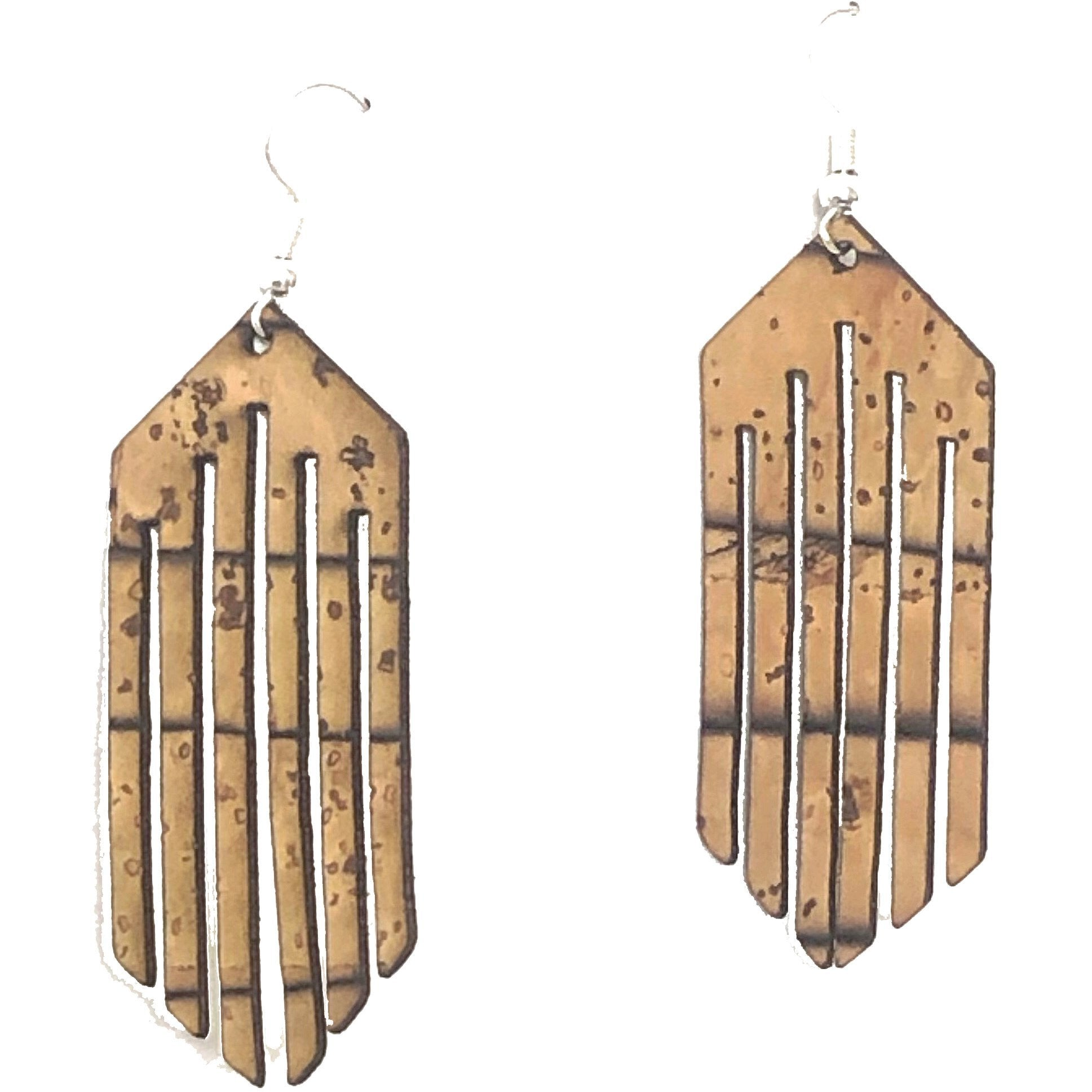 Cork Deco Fringe Earrings - Both Sides Cork