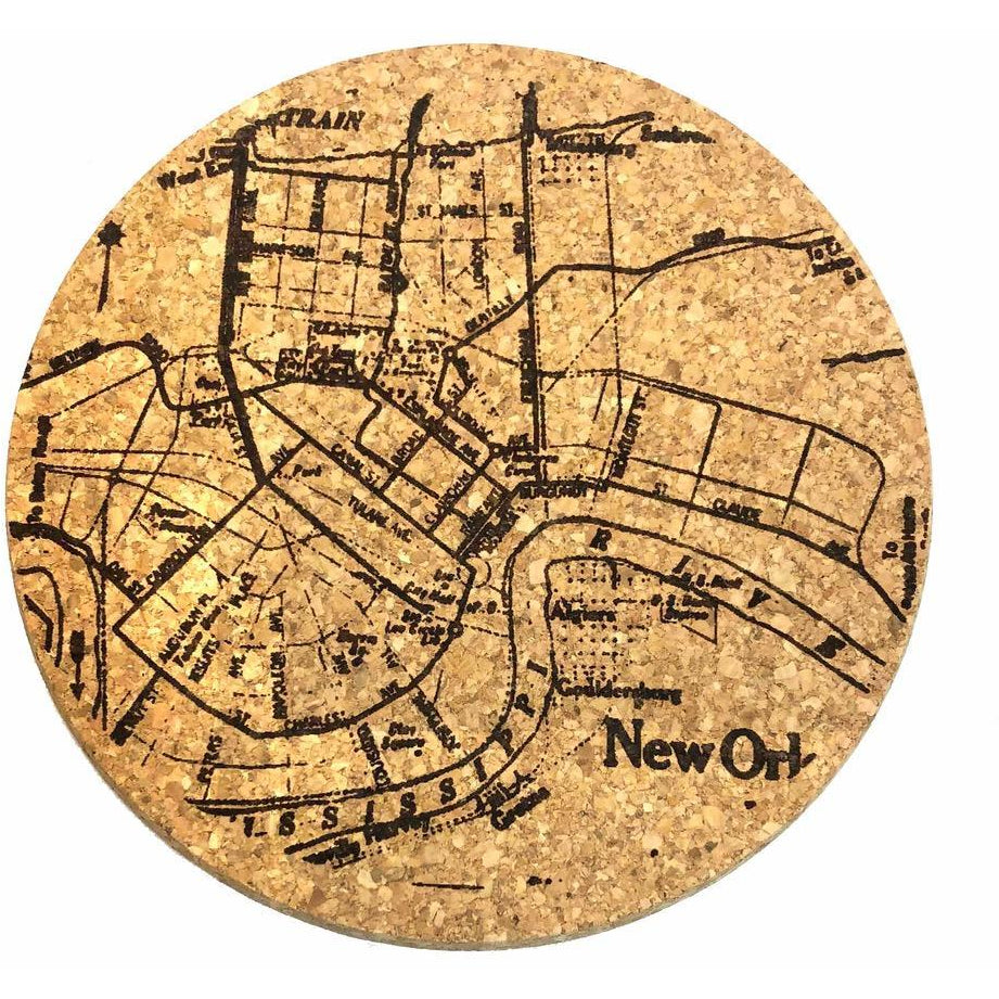 queork cork engraved New Orleans trivets map nola