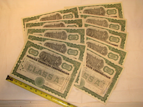9 Tobacco Products Corporation Antique Vintage Stock Certificates Green 1920's