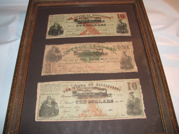 Authentic Framed 3 Civil War Confederate Mississippi Bank Notes Cotton Bonds
