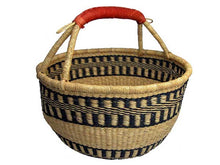 Round Market Basket with Leather Handle
