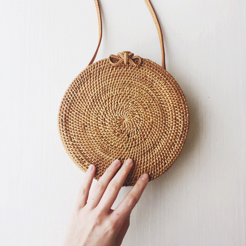 Round Vintage Designer Rattan Straw Beach Bag Tote with Leather Strap