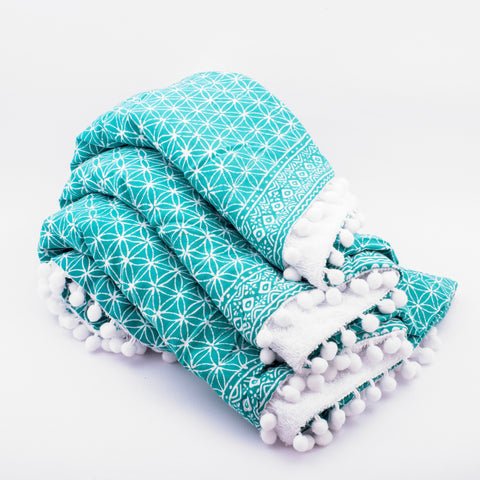 Towel Flower or Life turquoise with Pompom