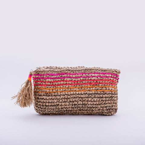 Seagrass Clutch, pink embroidered