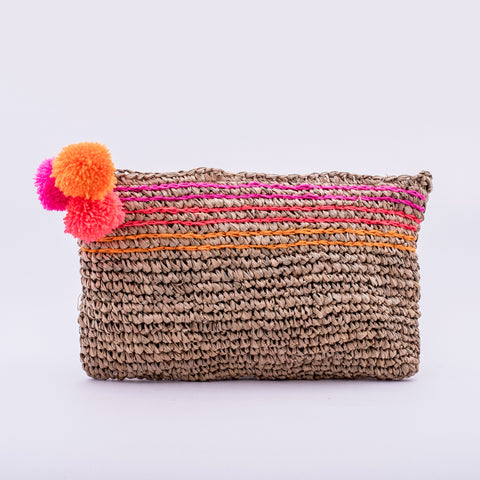Seagrass Clutch with Pompon, pink