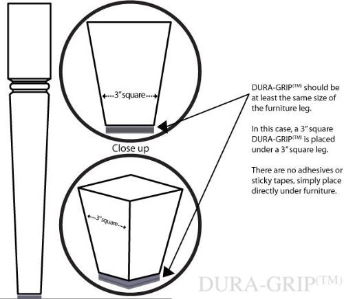 DURA-GRIP® Square Furniture Gripper & Floor Protector for Hard Floors