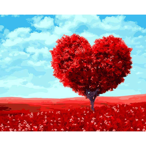 "DIY Painting By Numbers - Red Heart Shaped Tree (16""x20"" / 40x50cm)"