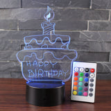 3D Lamp Visual Light Touch Switch Colorful Night Light with Remote Controller Black Pedestal (Birthday Cake)