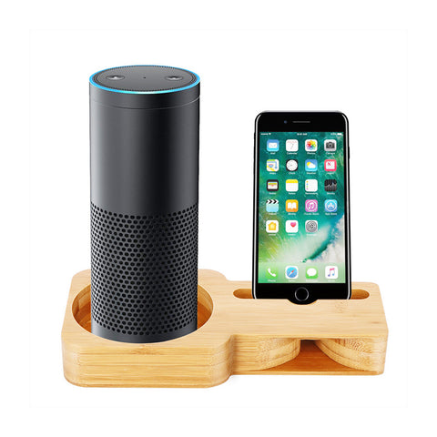 Bamboo Wood Desk Holder For Smart Mobile Phone Charging Dock Speaker Stand