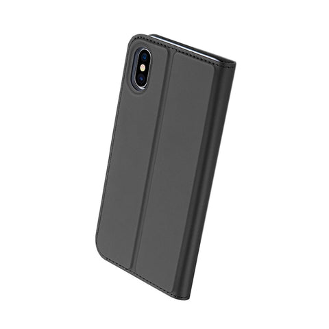 Phone Flip Cover Leather Case with Card Slot Shockproof Protective Phone Shell for IPHONE X (Sky Grey)
