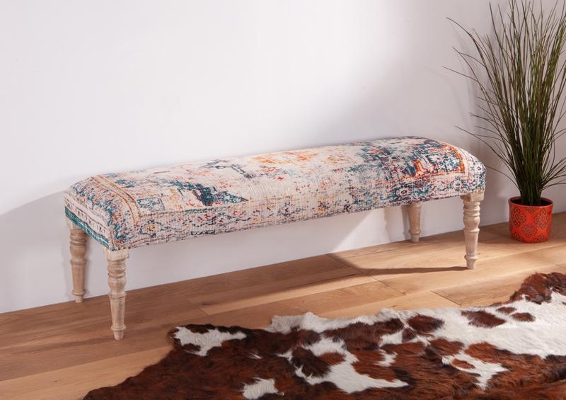 Algiers 60-Inch Turquoise Print Upholstered Bench