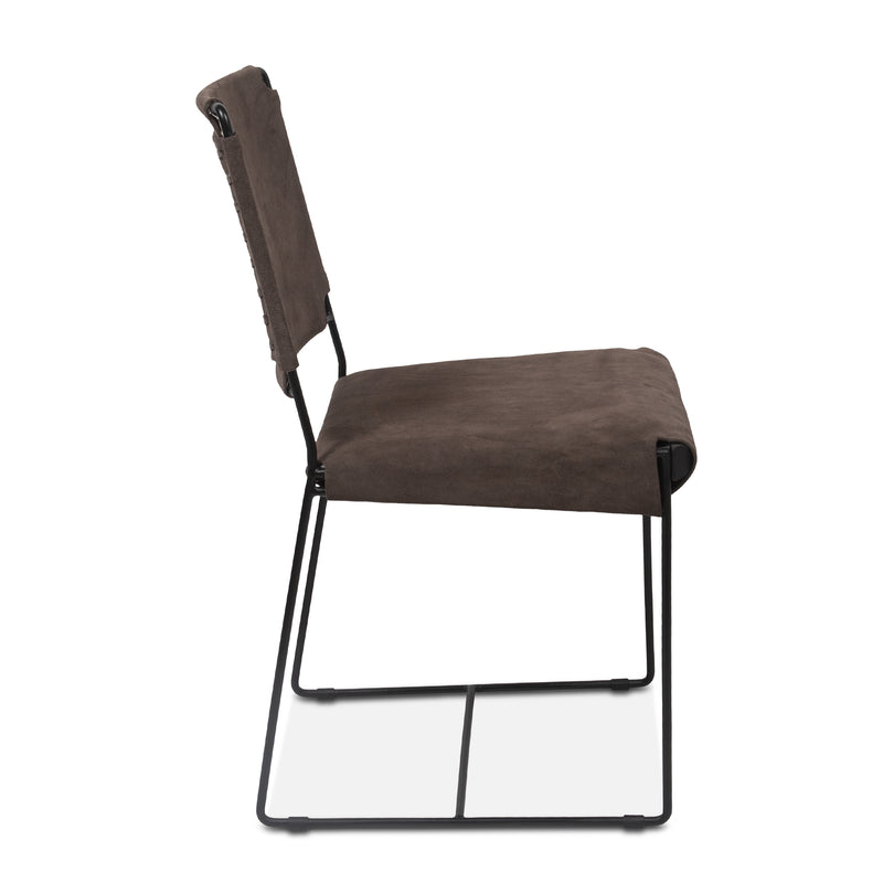 Melbourne Industrial Modern Suede Dining Chairs, Set of 2