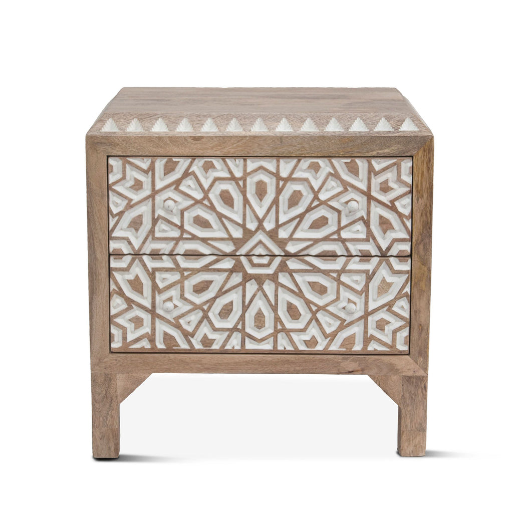 Haveli Mango Wood Geometric Carved Night Chest