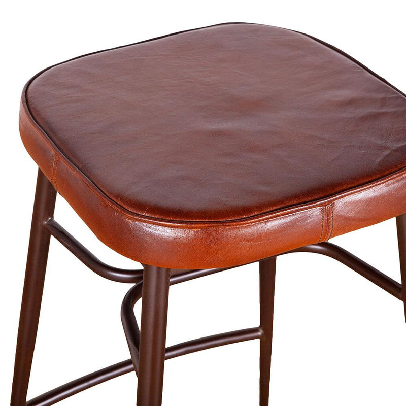 Hudson Backless Leather Stool