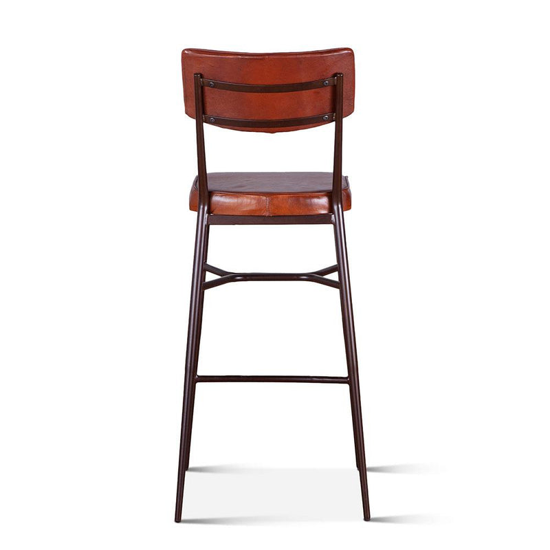 Hudson High Back Leather Stool