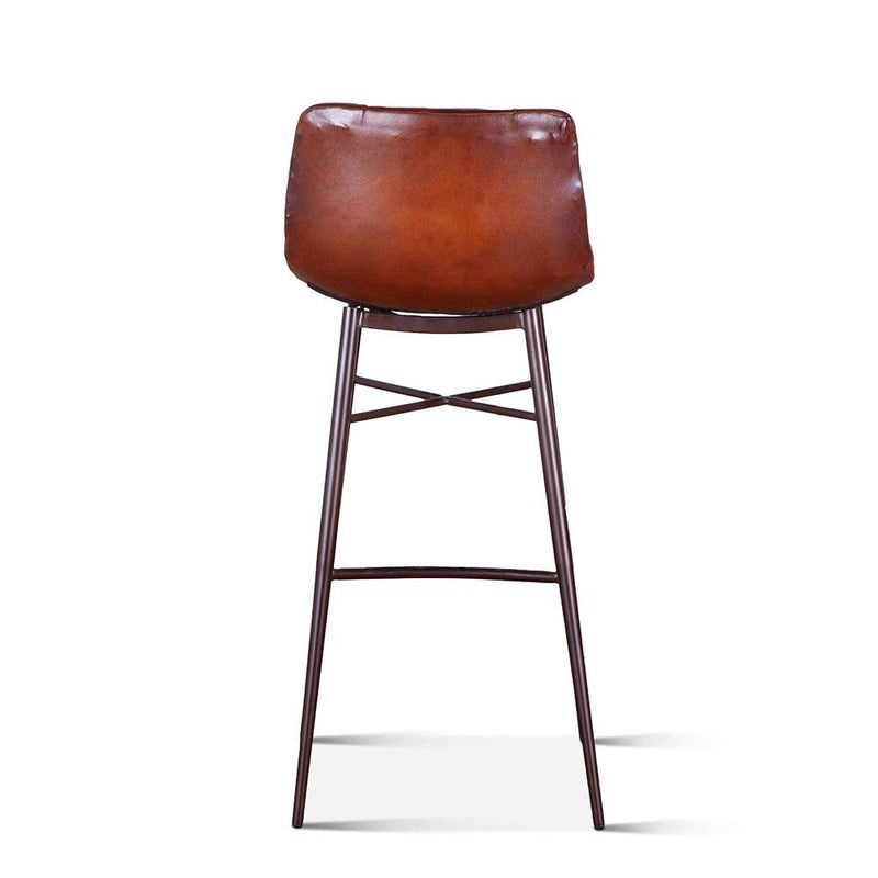 Hudson Low Back Leather Stool