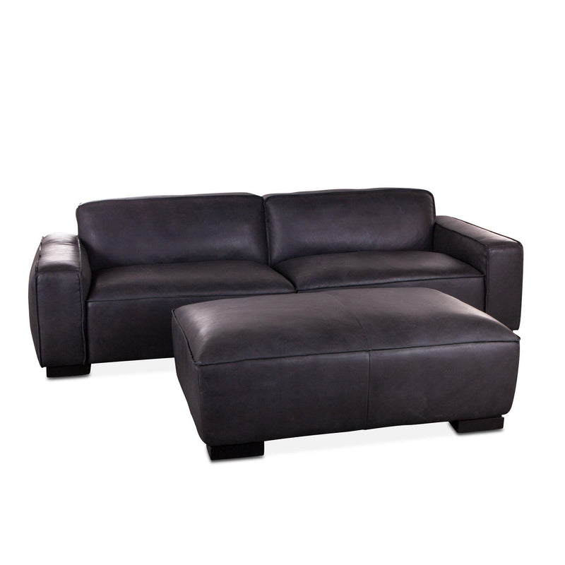 Portlando Modern Black Leather Sofa