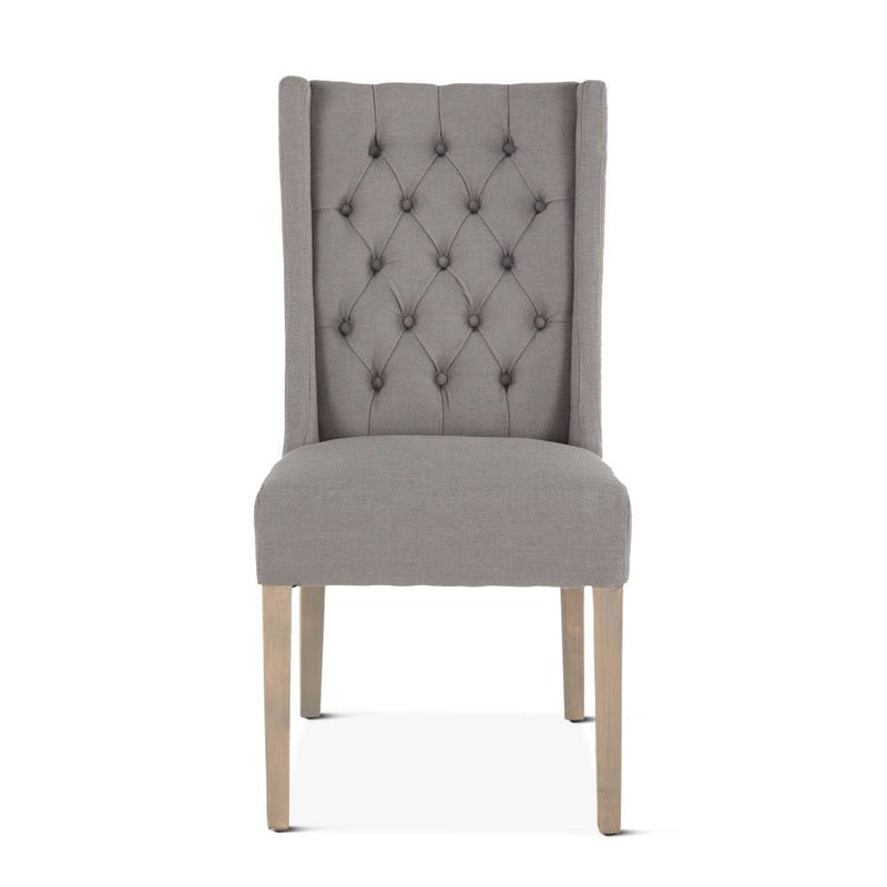 Chloe Mid Century Wing Dining Chair  - Light Grey
