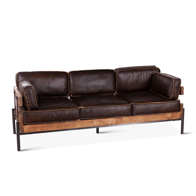 Chiavari Mocha Brown Industrial Leather Sofa