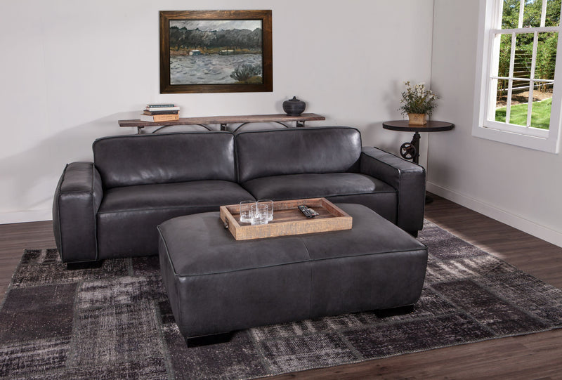 Portlando Modern Black Leather Sofa & Ottoman