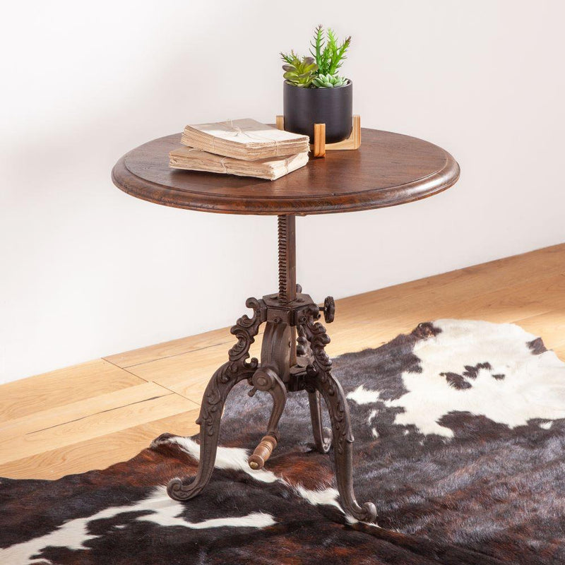 Regina French Industrial Crank Side Table