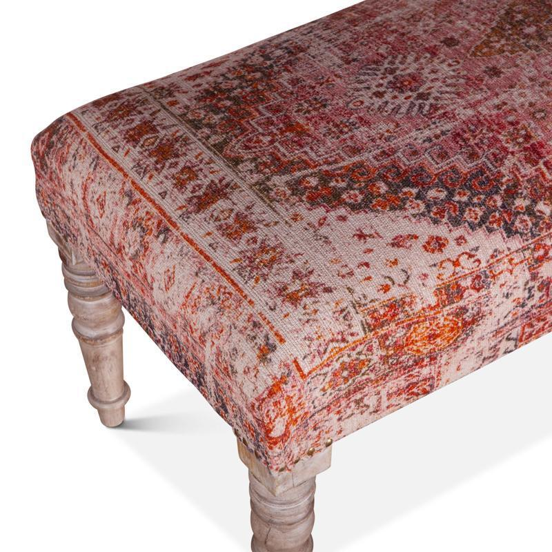 Algiers 42-Inch Tihiri Red Print Upholstered Bench