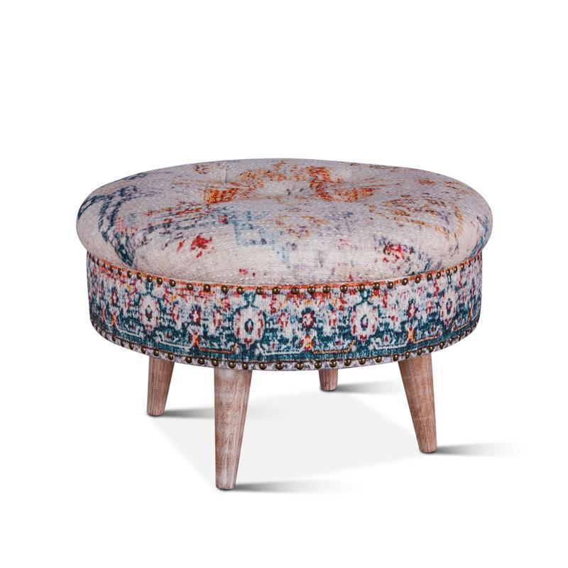 Algiers Turquoise Print Upholstered Stool