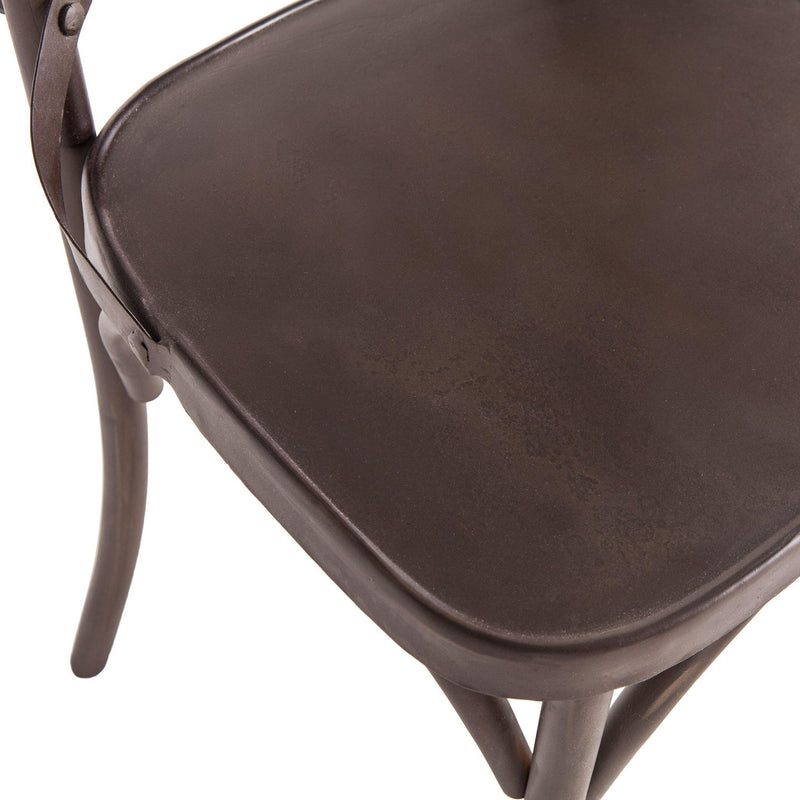 Anderson Reclaimed Iron Dining Chair in Gun Metal Finish Closeup