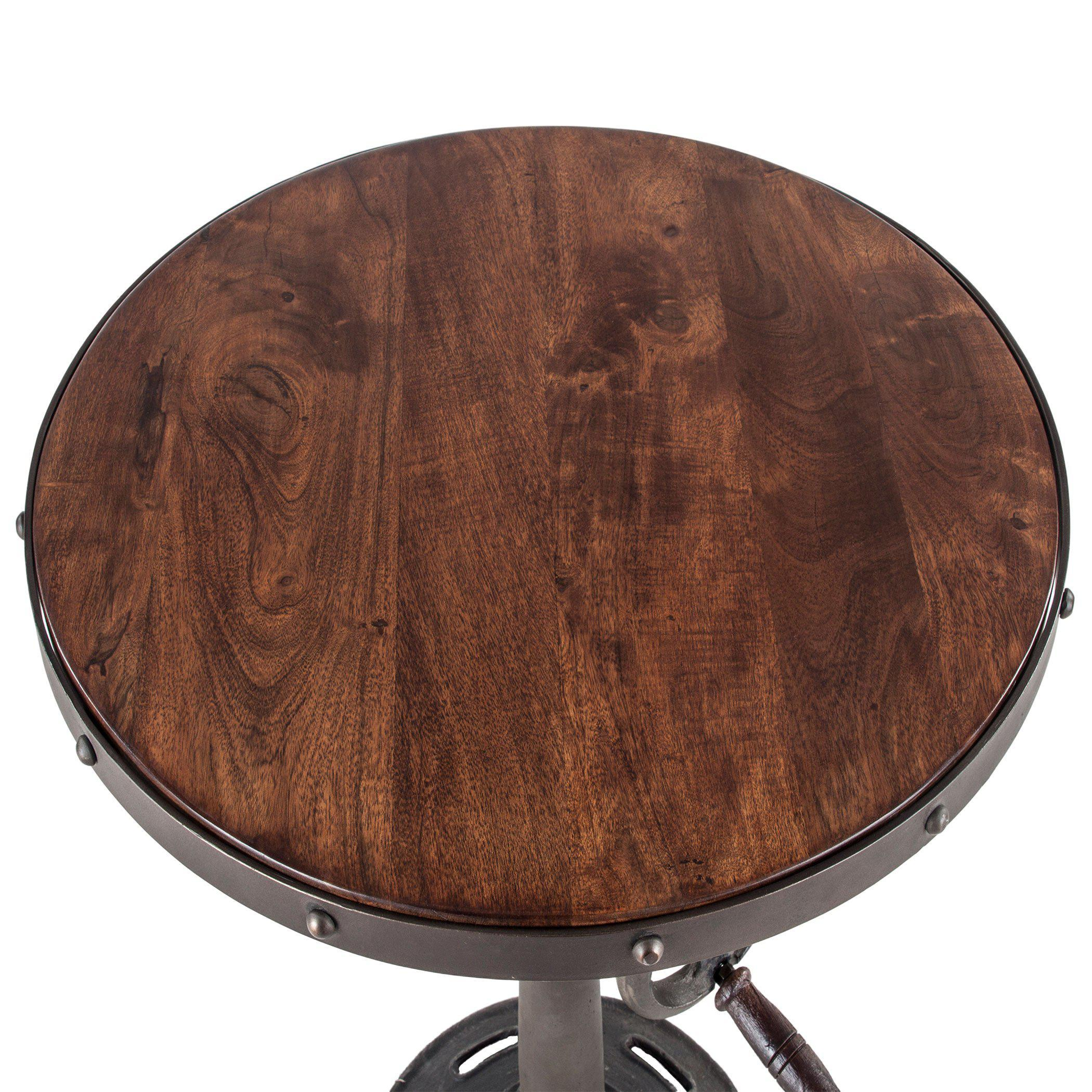 Artezia 25-Inch Round Adjustable Acacia Wood Side Table