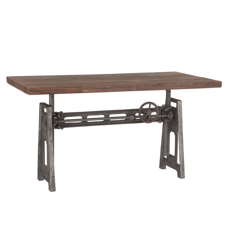 Artezia Recycled Teak Industrial Crank Desk