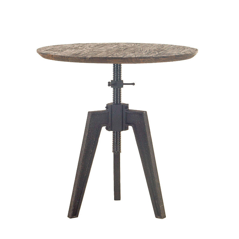 Dakota 42-Inch Round Adjustable Dining Table with Cast Iron Base
