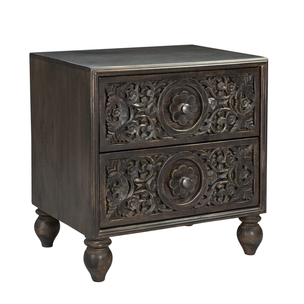 Haveli Traditional Hand-Carved Nightstand