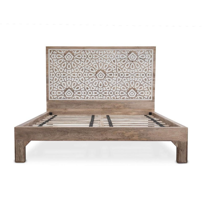 Haveli Mango Wood Geometric Carved King Bed