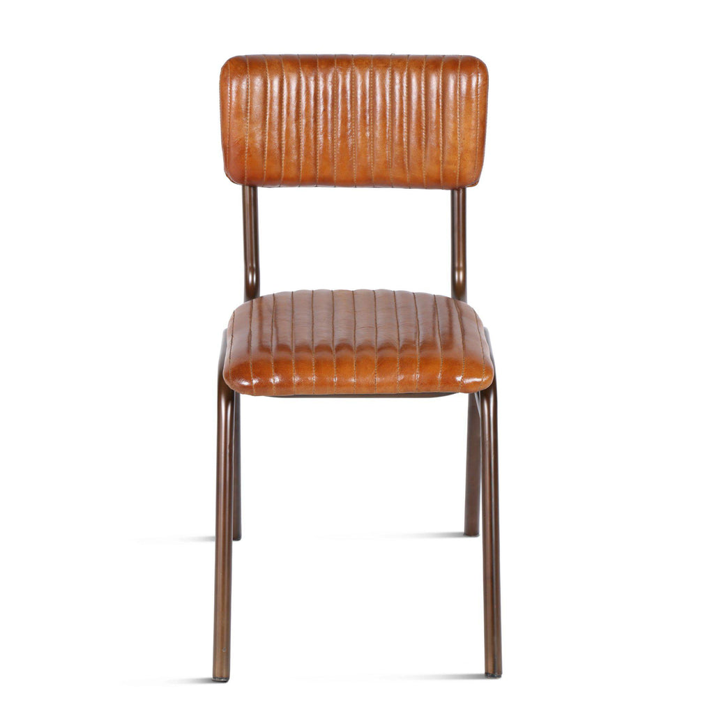 Hudson Stitched Leather Side Chairs