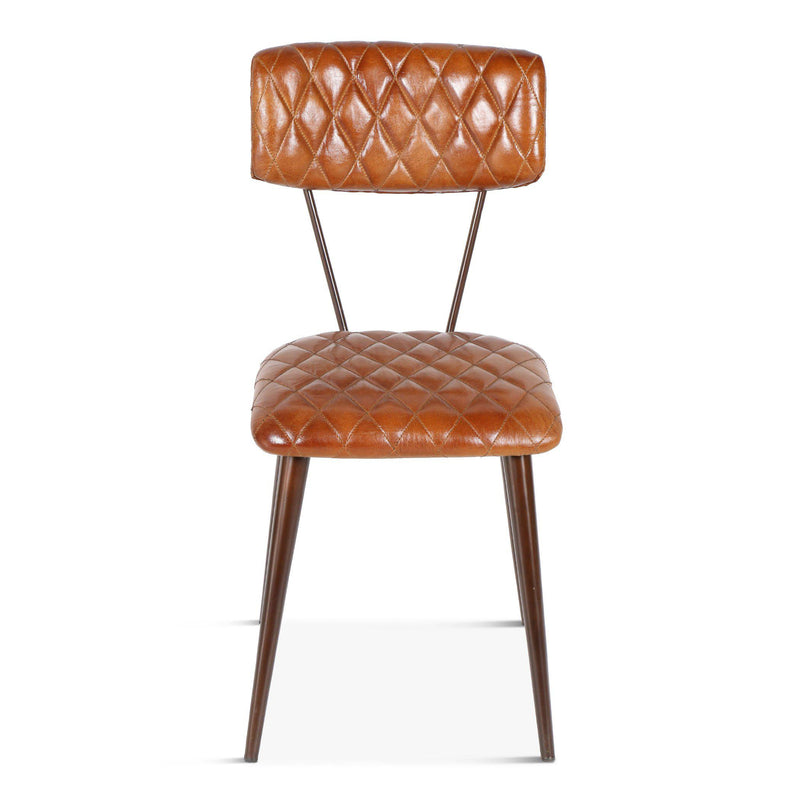 Hudson Diamond Stitched Leather Side Chairs
