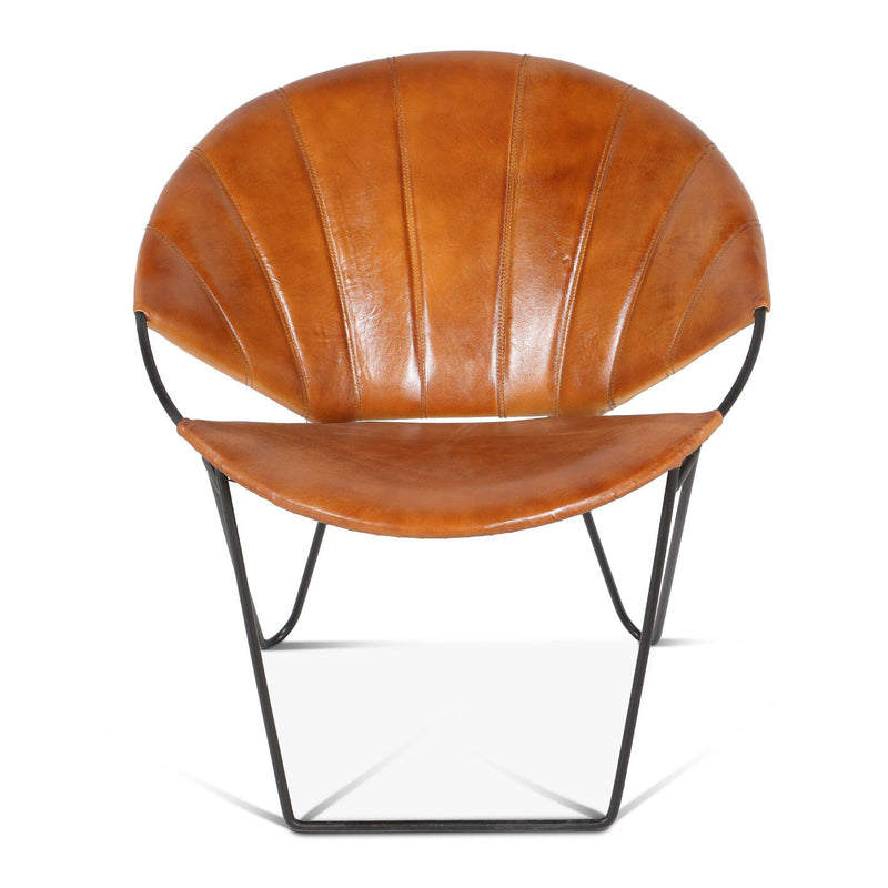 Hudson Stitched Leather Moon Lounge Chair