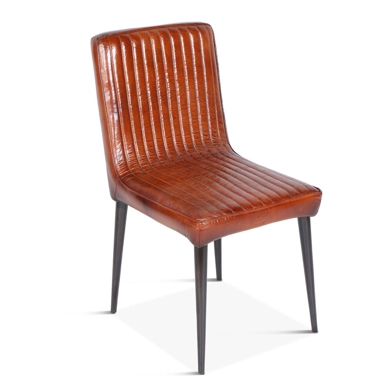 Hudson Stitched Leather Side Chair