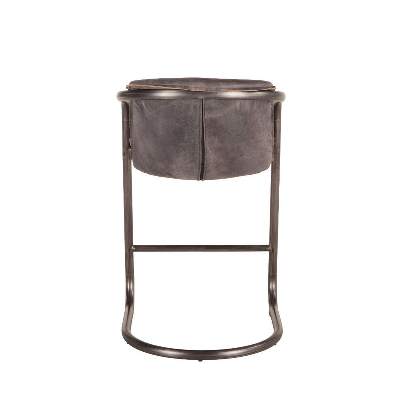 Chiavari Industrial Modern Leather Counter Stools, Set of 2