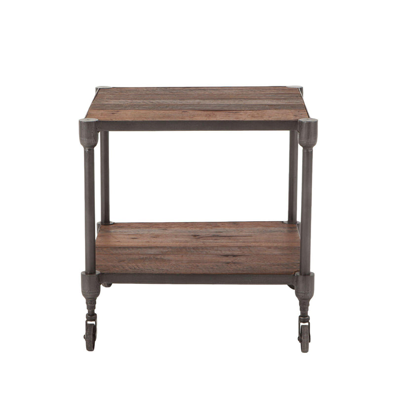 Paxton Rustic Industrial Rolling Side Table