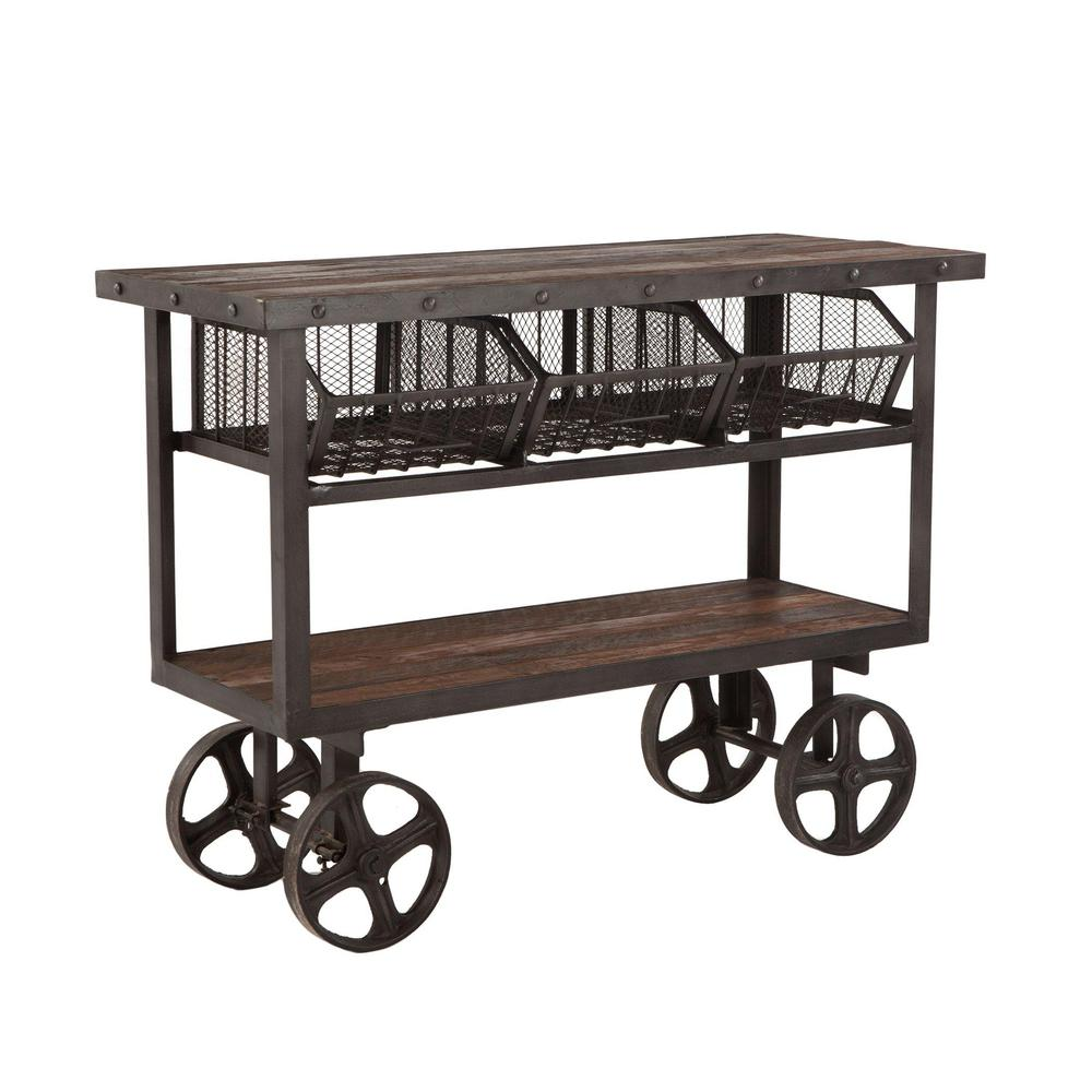 Paxton Rustic Industrial Rolling Utility Cart