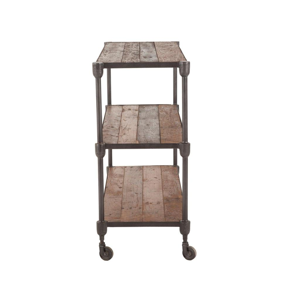 Paxton Rustic Industrial Rolling Console Table