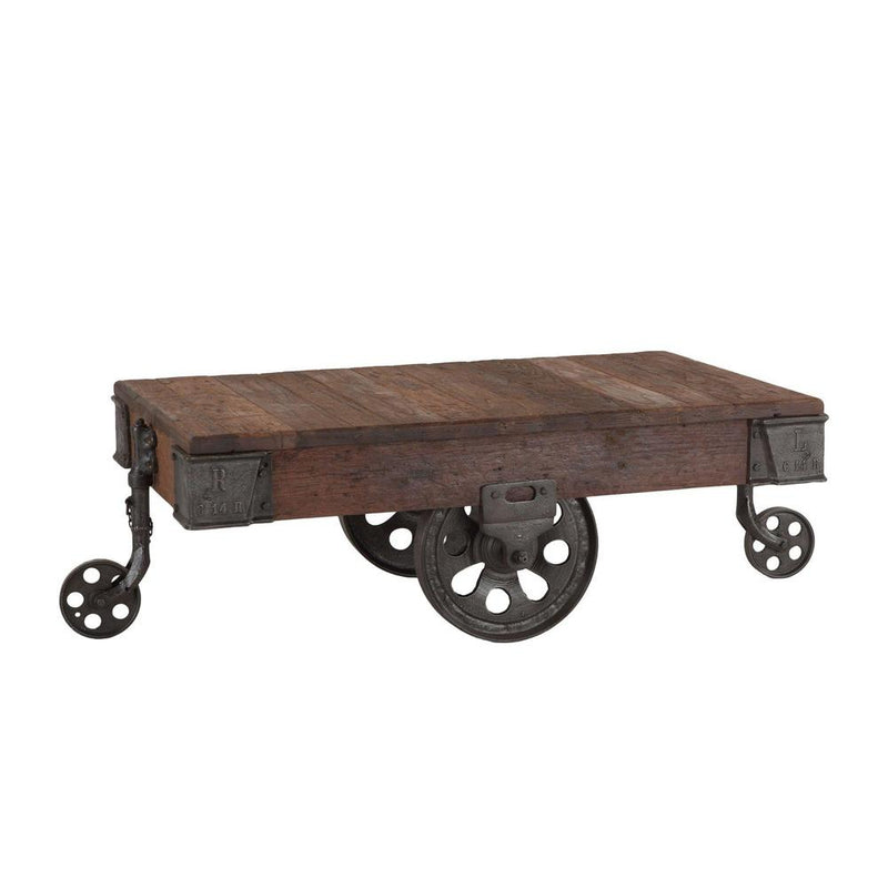 Paxton Farmhouse Industrial Rolling Coffee Table