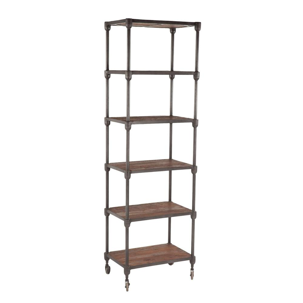 Paxton Rustic Industrial Rolling Bookcase